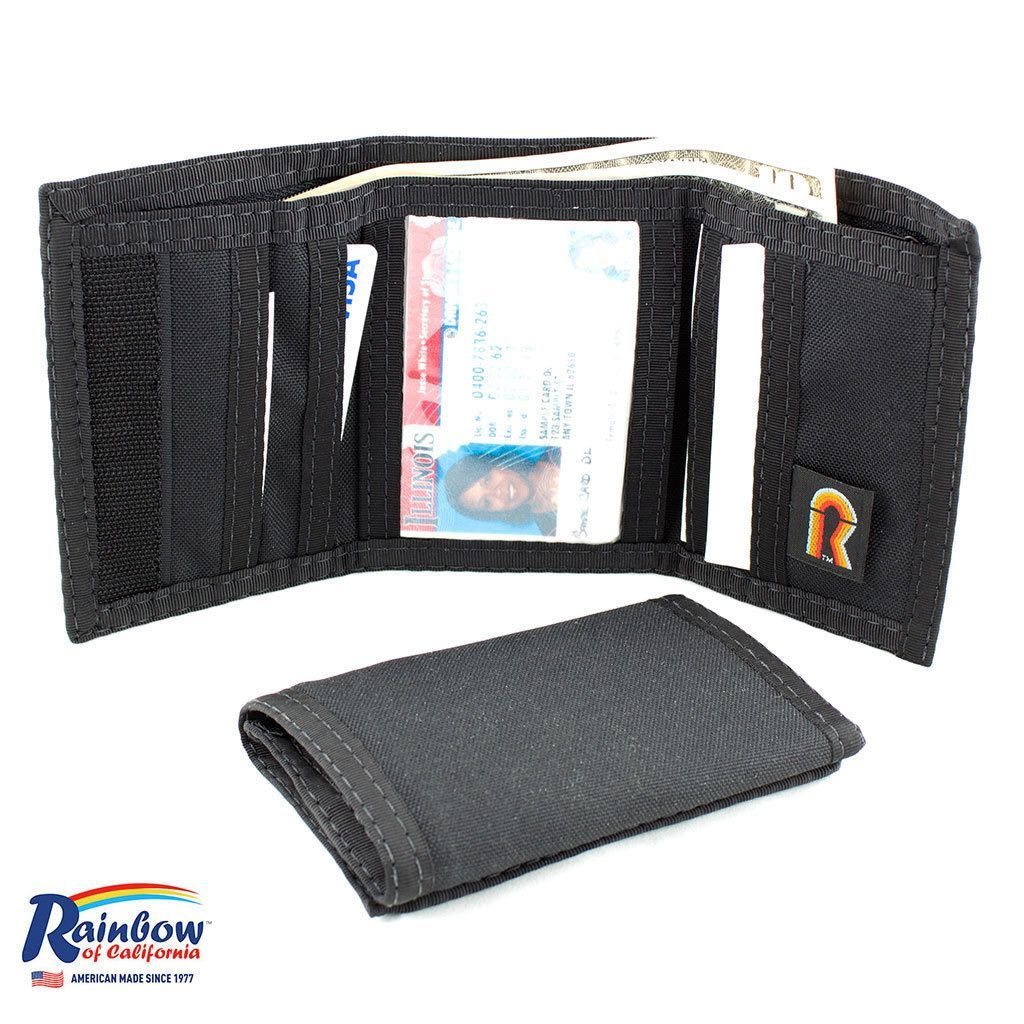 Made in USA Rainbow of California Trifold ID Mens Small Wallet Water Resistant