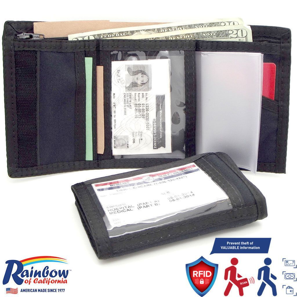 Made in USA Rainbow of California Trifold RFID-Blocking Panel Mens Wallet