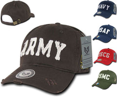 Military Army Marines Vintage Washed Cotton Polo Distressed Baseball Caps Hats
