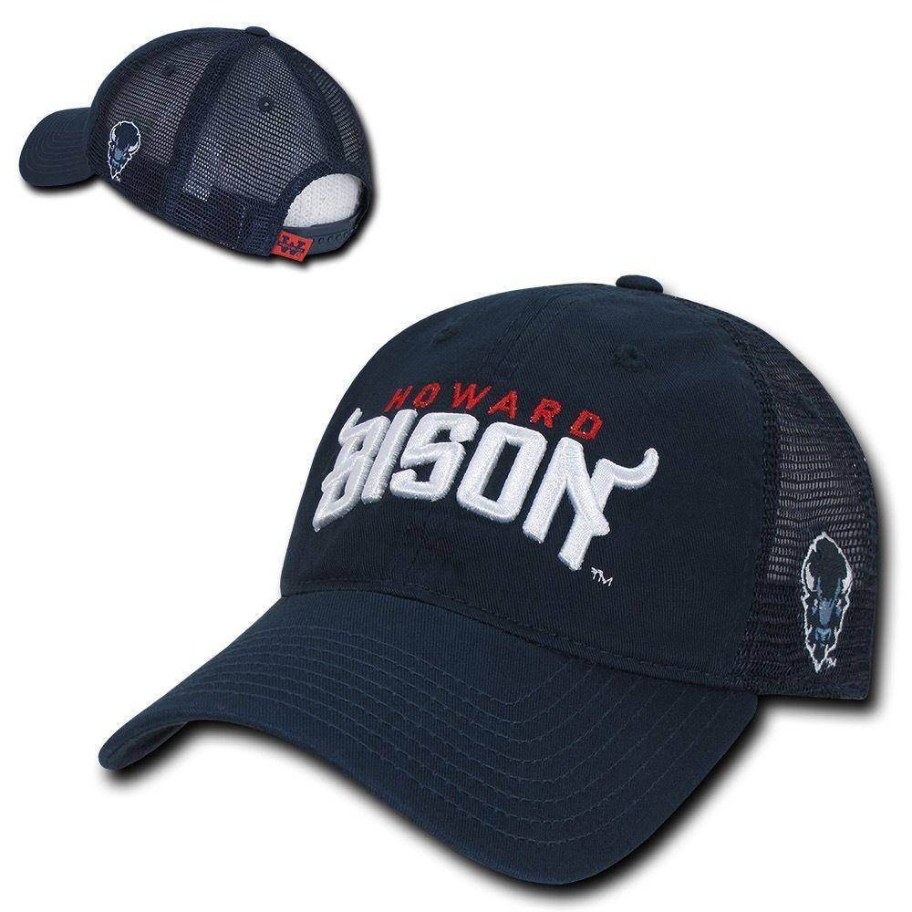 NCAA Howard University Bisons Curved Bill Relaxed Trucker Mesh Caps Hats Navy