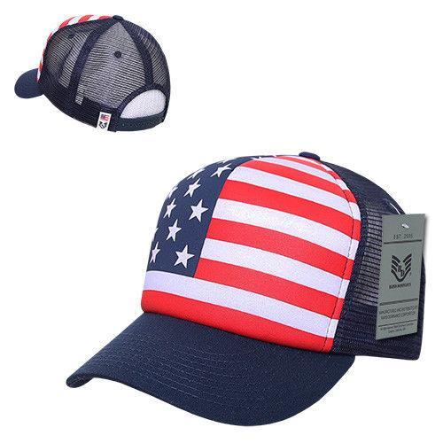 Patriotic American USA Flag Full Print Classic Foam Mesh Trucker Caps Hats
