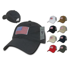 Patriotic USA American Flag Embroidered Relaxed Polo Baseball Dad Caps Hats