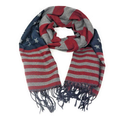Patriotic USA American Flag Red White Scarf Scarves Shawl Wrap Textured