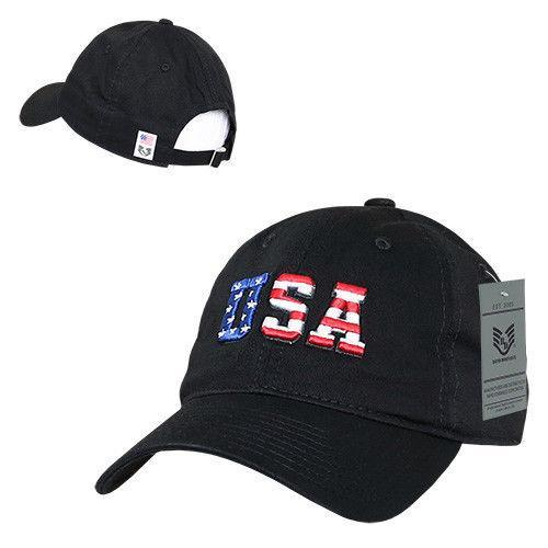 Patriotic USA Flag Embroidered Relaxed Cotton Polo Baseball Dad Caps Hats