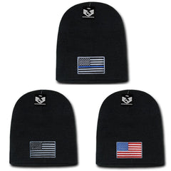 Patriotic USA Flag Thin Blue Line Knit Beanies Acrylic Winter Short Cuff Unisex