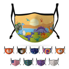 Cute Face Masks for Kids Child Adjustable Boys Girls Ages 3 to 9 Cotton Poly Washable Reusable 2 Layer Pocket Filter