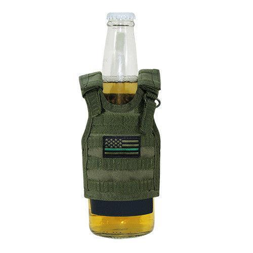 Rapdom Bottle Cooler Beverage Insulator Tactical Vest Thin Green Line Olive Drab