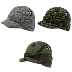 Rapid Dominance Military Camouflage Camo Gi Jeep Beanies With Visor Knit Watch Caps Hats