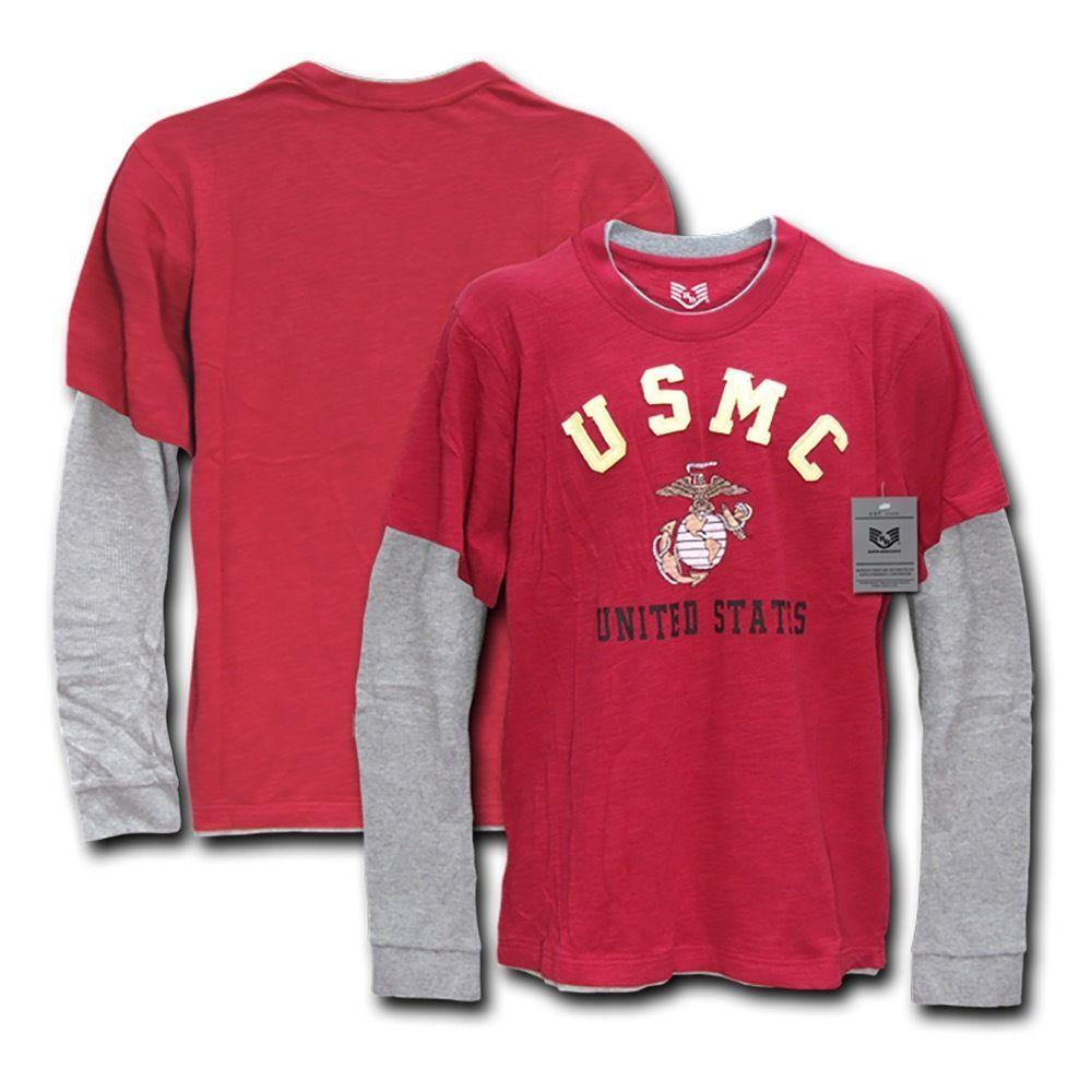 Rapid Dominance Men Long Sleeve Layered Tee Military Marine Army T-Shirts Tees