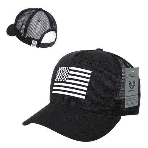 Rapid Dominance Rubber US Flag On 5 Panel Trucker Caps Hats