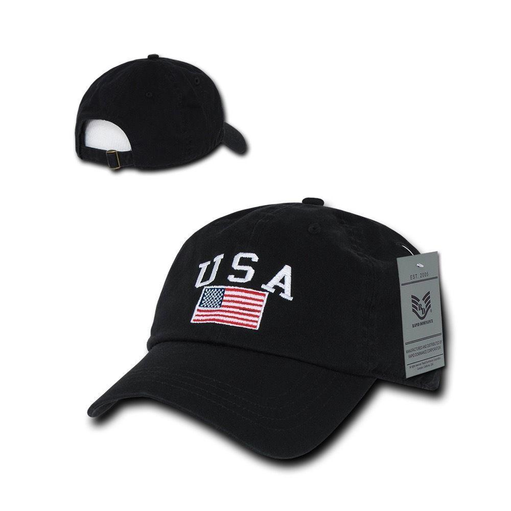 Relaxed USA Flag American Team Patriotic Washed Cotton Baseball Dad Cap Hats