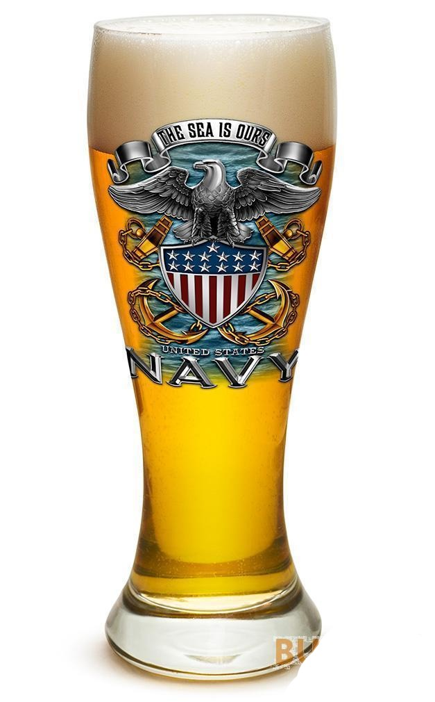 The Sea Is Ours US Navy Full Print Eagle - Set Of 2 - Large Pilsner Glasses 23Oz