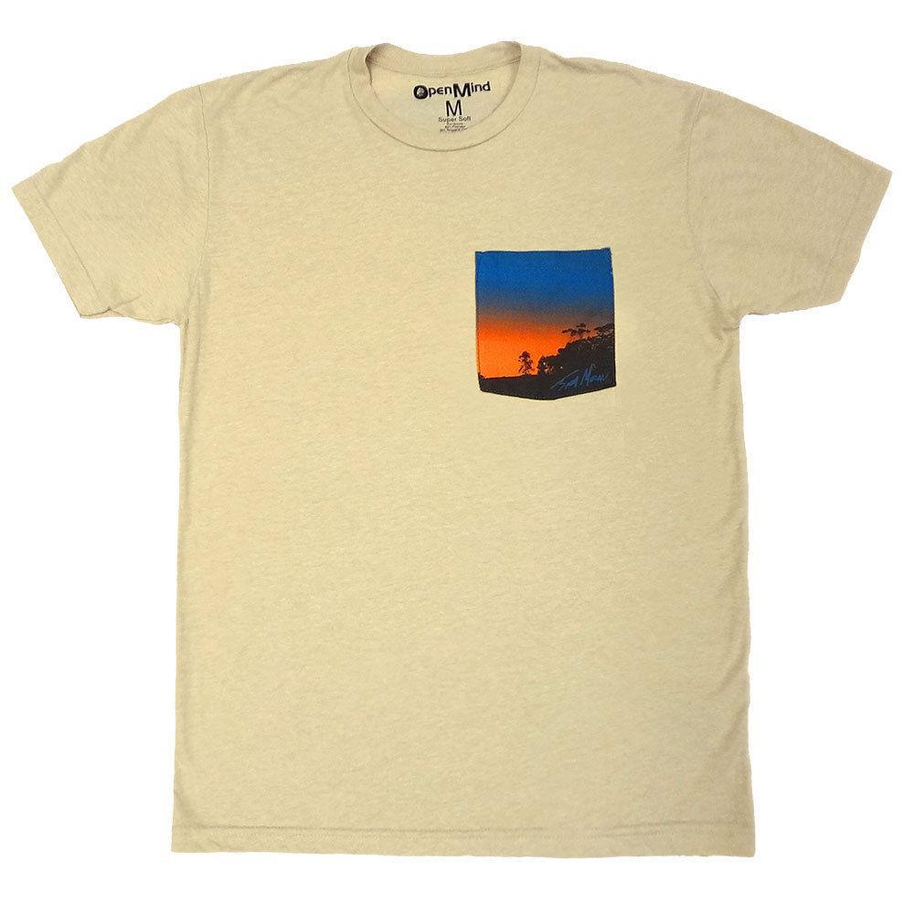 Tree Surf Scene Surfing Surfer Soft T-Shirt Tee Printed Pocket