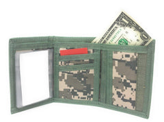 Trifold Mens Wallet Digital ACU Gray Camouflage Army Military Clear ID Window