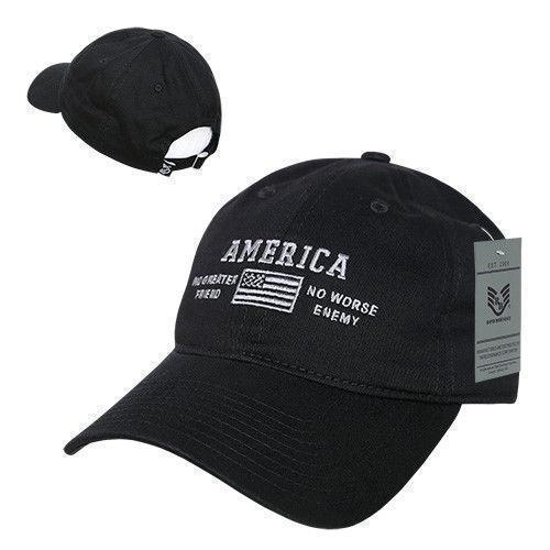 United States Of America No Greater Friend Enemy US Flag Baseball Dad Caps Hats