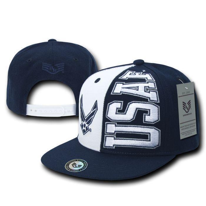 Rapid Dominance US Military Army Air Force Navy Marines Coast Guard Stack Up Flat Bill Hats Caps