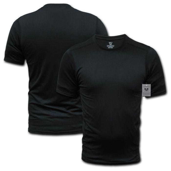 US Military Dri Cool Muscle Workout Fit Training Black Solid T-Shirts