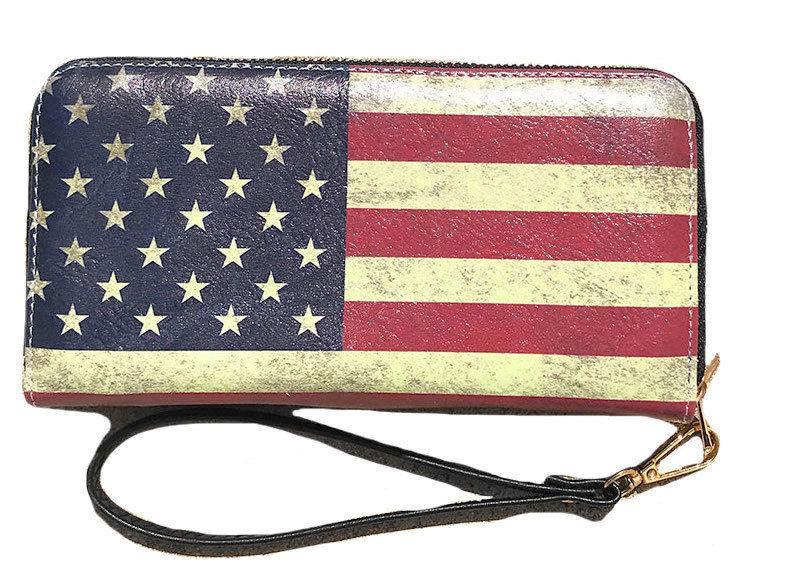 USA American Flag Wallet Purse Wristlet Gifts For Women Mom Girlfriend Wife