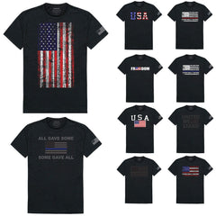 USA Flag Patriotic United We Stand Thin Red Line Freedom Cotton T-Shirts