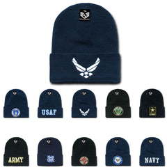 USAF Army USmc Marines Navy Coast Guard Logos Beanies Cuffed Long Knit Caps Hats
