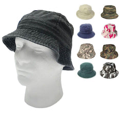 Washed Cotton Sun Bucket Boonie Hats Caps Fitted Sizes Solid /Camo Fishermans Beach