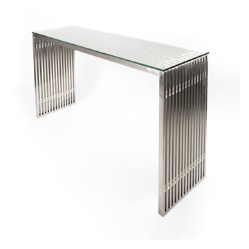 Acco Console in Brushed Stainless Steel