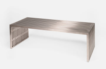 Acco Bench in Brushed Stainless Steel
