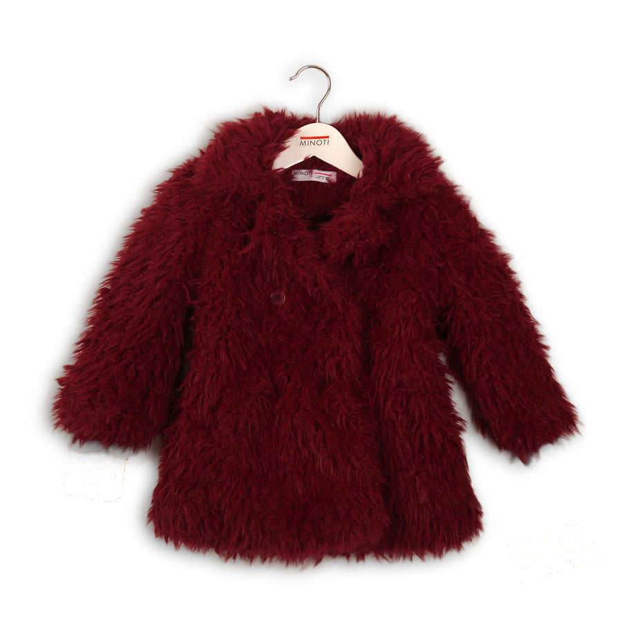 GIRLS BOUCLE COAT PLUM