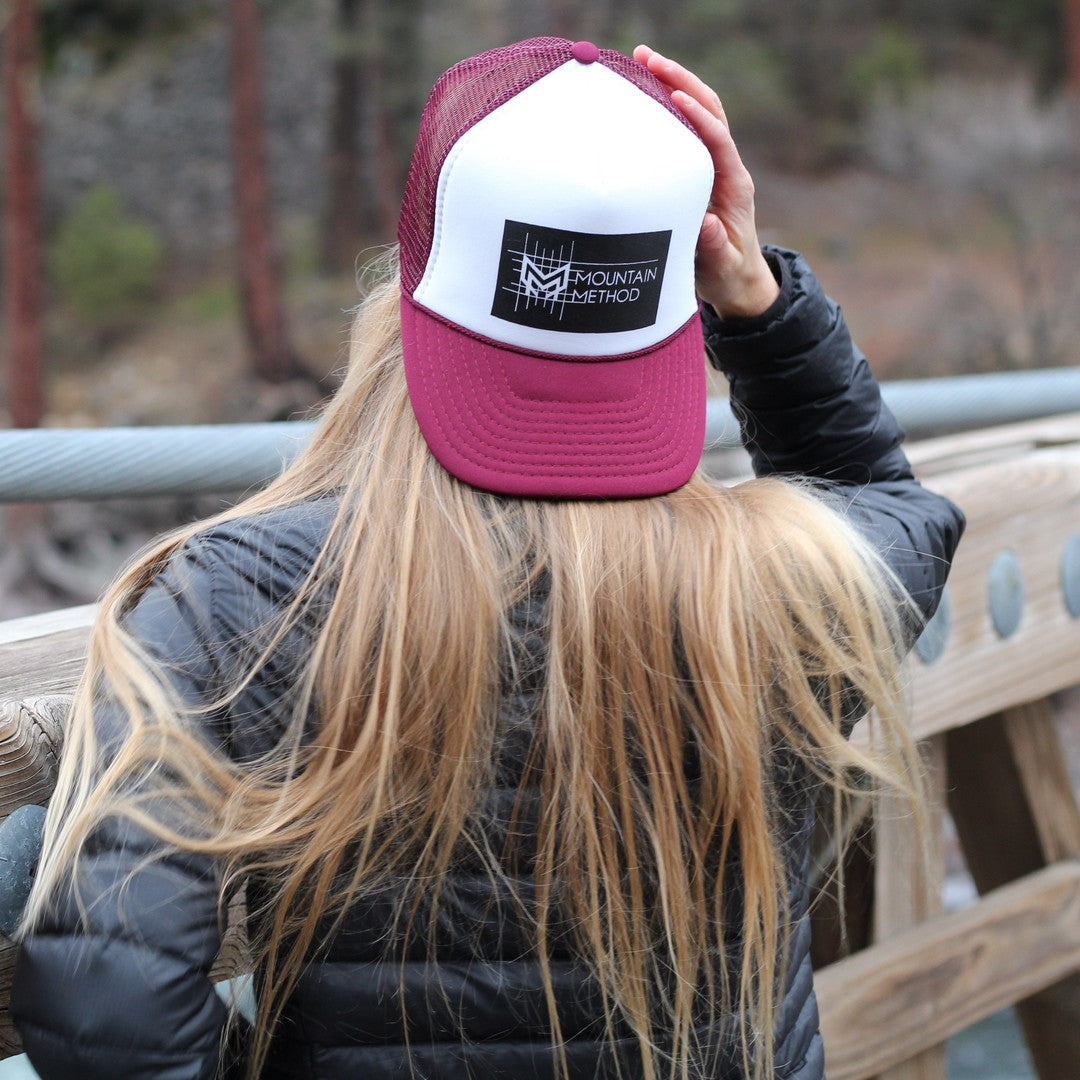 Icicle Creek Trucker Hat | Gridline | Maroon | Clothing
