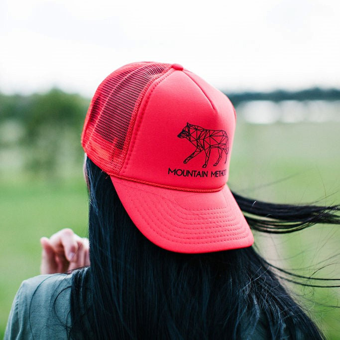 Icicle Creek Trucker Hat | Night Wolf | Red | Clothing