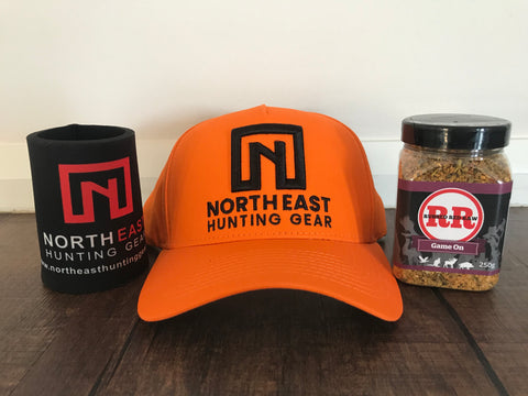 NEHG Blaze Orange Hat & Rubbed Red Raw - Game On