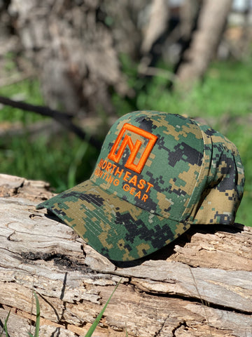 A Frame Hat - Digital Camo Hat with Blaze Orange logo