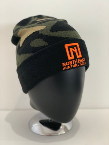 Camo Beanie - Orange Logo