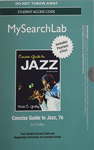 Mylab Search With Pearson Etext -- Standalone Access Code -- For Concise Guide To Jazz (7Th Edition)