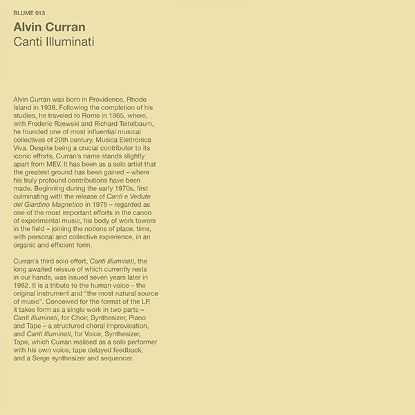 Alvin Curran - Canti Illuminati (Import LP)