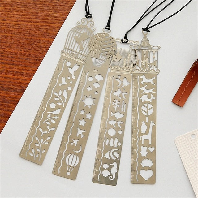 Kawaii Creative Horse Birdcage Hollow Metal Ruler