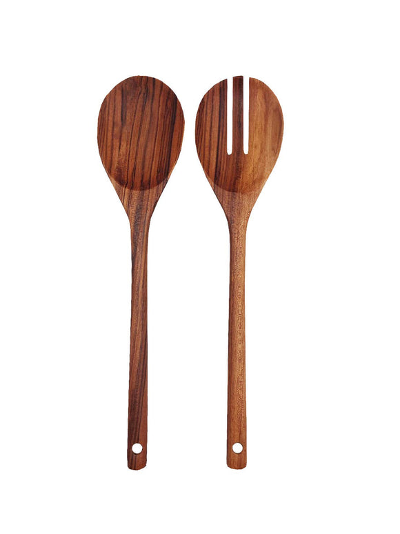 Premium Golden Teak Wood Salad Tongs By Tectona Teak Handmade Wooden Salad Servers With Long Handles. Eco Friendly Heat Resistant Cooking Utensils For Vegans (Design 3)