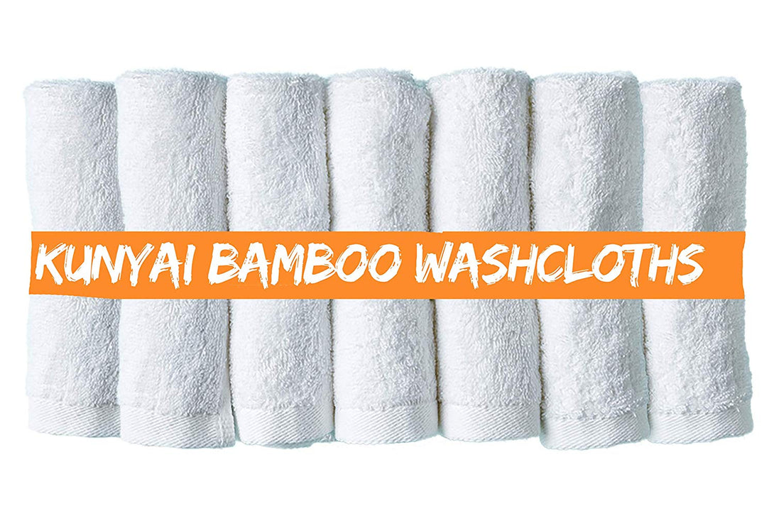 Kunyai Bamboo Washcloths - Best Premium Luxury Organic Washcloth 10X10 Inches, For Adults And Kids Better Than Cotton Ideal Gift and Baby Registry - Soft White Hypoallergenic Fiber (7 Towel Set)