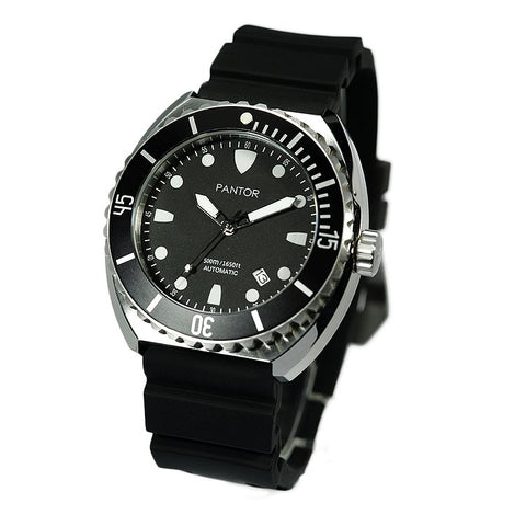 Image of Pantor Sea Turtle Black Dial Black Bezel S/S Case Black Rubber Strap Professional Dive Watch