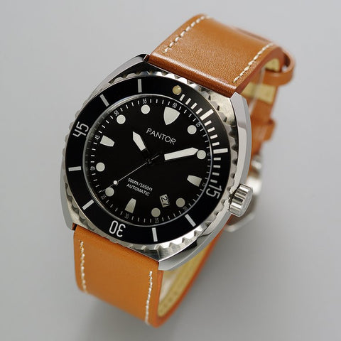 Pantor Sea Turtle Black Dial Black Bezel S/S Case Brown Leather Strap Professional Dive Watch