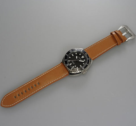 Image of Pantor Sea Turtle Black Dial Black Bezel S/S Case Brown Leather Strap Professional Dive Watch