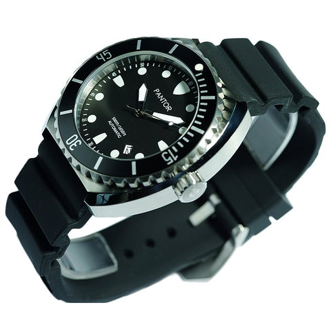 Pantor Sea Turtle Black Dial Black Bezel S/S Case Black Rubber Strap Professional Dive Watch