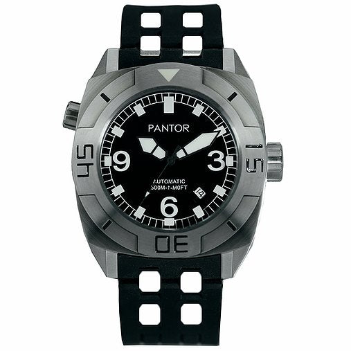 Pantor Seal Black Dial S/S Case Black Rubber Strap Professional Dive Watch