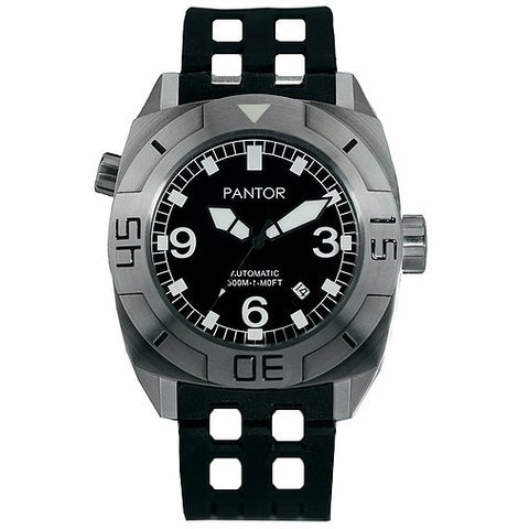 Image of Pantor Seal Black Dial S/S Case Black Rubber Strap Professional Dive Watch
