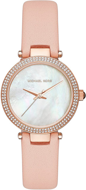 Michael Kors Mini Parker Ladies MOP Dial  Pink Leather Strap Watch MK2590