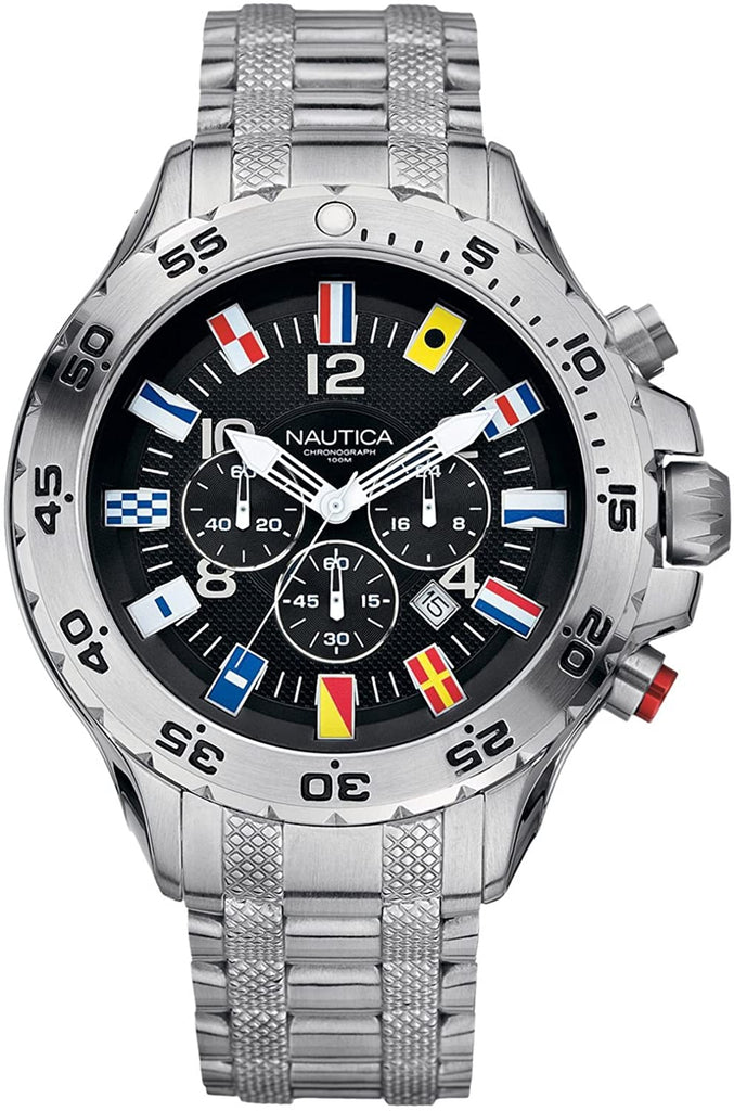 vNautica NST Flag  Mens Chronograph Black Dial Stainless Steel Case Bracelet Watch A29512G