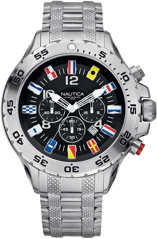 Image of vNautica NST Flag  Mens Chronograph Black Dial Stainless Steel Case Bracelet Watch A29512G