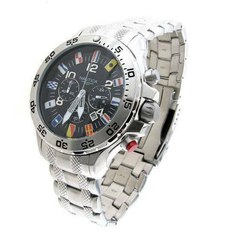 Nautica NST Flag  Mens Chronograph Black Dial Stainless Steel Case Bracelet Watch A29512G