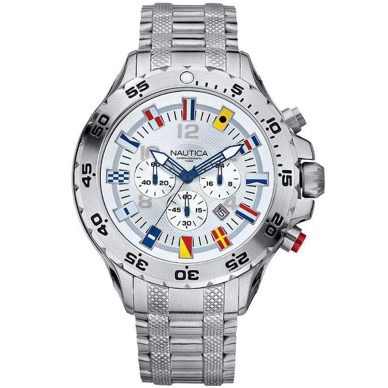 Nautica NST Flag  Mens Chronograph White Dial Stainless Steel Case Bracelet Watch A29513G