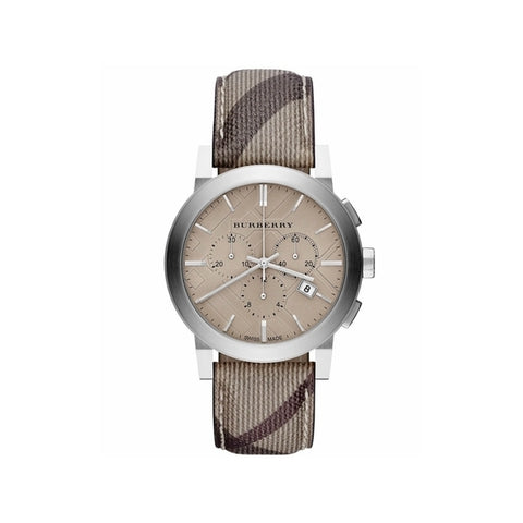 Image of Burberry Mens Chronograph The City Beige Dial S/S Case Fabric Strap Watch BU9358